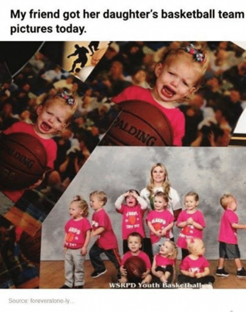 Basketball, Friends, and Funny: My friend got her daughter's basketball team  pictures today.  WSRPD Youth Basketball  Source foreveralone-ly.