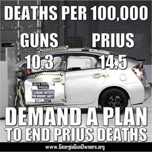 Guns, Death, and Toys: DEATHS PER 100,000  GUNS  PRIUS  2014 TOY  PRIUS  LOURANGENSTITUTE  ROR HIGHWAY SAFETY  347  DEMANDA PLAN  TO END PRIUS DEATHS  www.GeorgiaGunOwners.org