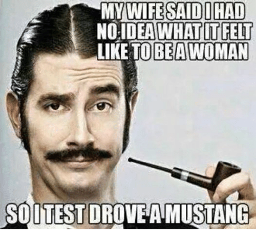 Mustang, Mechanic, and Wife: MY WIFE SAID DHAD  NO IDEA WHAT IT FELT  LIKE TO BEA AWOMAN  SOUTESTDROVEA MUSTANG