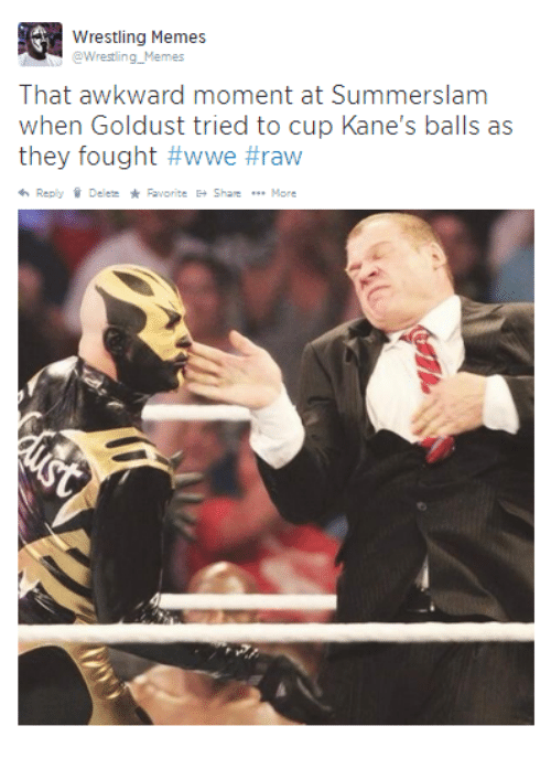 Wwe Raw: Wrestling Memes  @Wrestling Memes  That awkward moment at Summerslam  when Goldust tried to cup Kane's balls as  they fought #wwe #raw  Reply Delete Pavorite E- Share