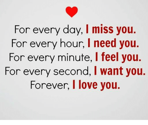 Love, Relationships, and I Love You: For every day, I miss you.  For every hour, l need you.  For every minute, l feel you.  For every second, I want you.  Forever, I love you.