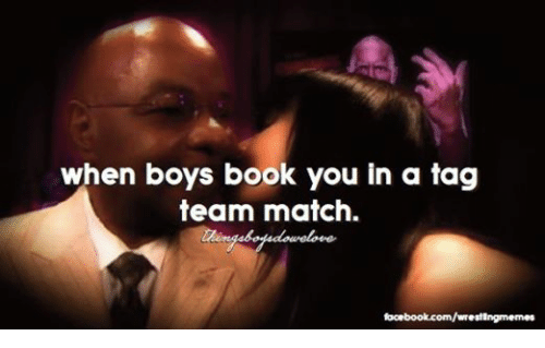 Books, Facebook, and Wrestling: when boys book you in a tag  team match.  facebook.com/wrest