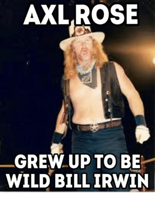 Ups, Wrestling, and World Wrestling Entertainment: AXL ROSE  GREW UP TO BE  WILD BILL IRWIN