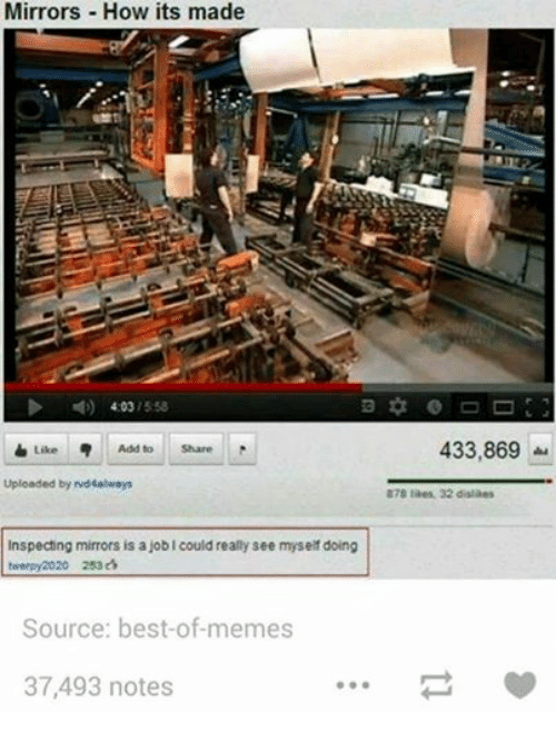 Meme, Memes, and Best: Mirrors How its made  N) 4:03  5:58  Like 5  Add to  Share  Uploaded by rvd4always  Inspecting mirrors is a job Icould really see myself doing  twerpy 2020 253  Source: best-of-memes  37,493 notes  433,869  878 likes 32 dislikes