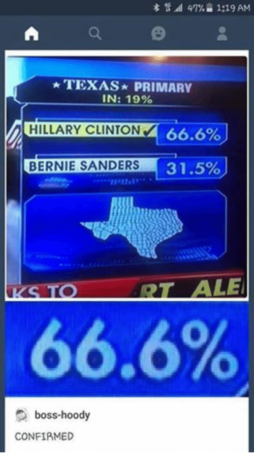 Bernie Sanders, Texas, and Humans of Tumblr: 1:19 AM  A TEXAS PRIMARY  IN: 19%  lnciLLARY CLINTON 66.6%  BERNIE SANDERS  31.5%  ALE  66.6%  boss-hoody  CONFIRMED