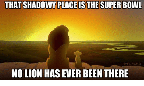 Meme, Memes, and Nfl: THAT SHADOWY PLACE IS THE SUPER BOWL  @NFL MEMES  NO LION HAS EVER BEEN THERE