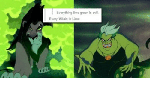 everything lime green is evil every villain ls lime