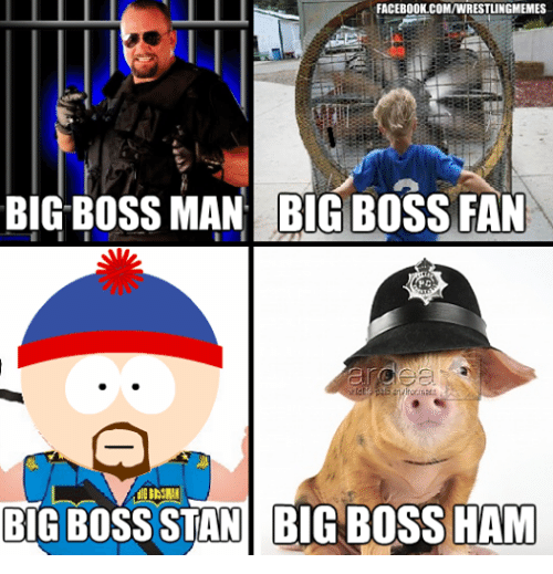 Facebook, Stan, and Wrestling: FACEBOOK COMIWRESTLINGMEMES  BIG BOSS MAN BIGBOSS FAN  BIG BOSS STAN BUG OSS HAM