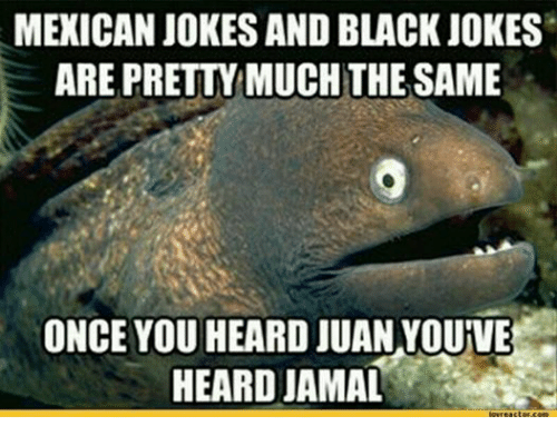 mexican jokes: MEXICAN JOKES AND BLACK JOKES  ARE PRETTYMUCHTHE SAME  ONCE YOU HEARD JUAN YOUIVE  HEARD JAMAL