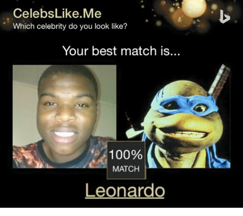 Best, Match, and Dank Memes: Celebs Like Me  Which celebrity do you look like?  Your best match is..  100%  MATCH  Leonardo