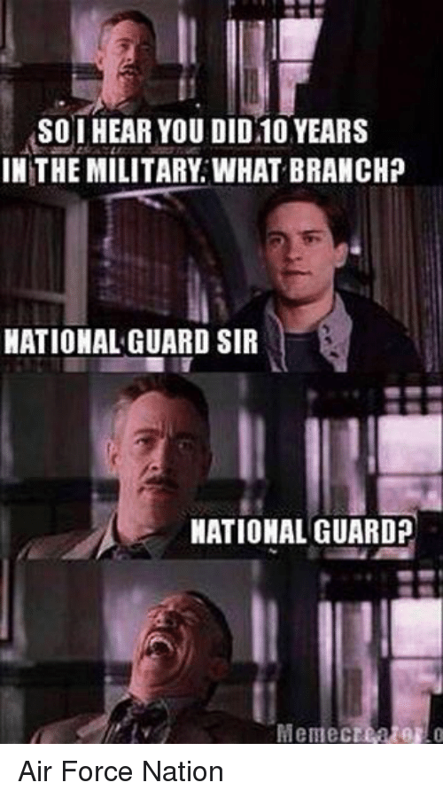 Air Force: SOI HEAR YOU DID 10 YEARS  IN THE MILITARY WHAT BRANCHP  NATIONAL GUARD SIR  NATIONAL GUARD?  Memecteater Air Force Nation
