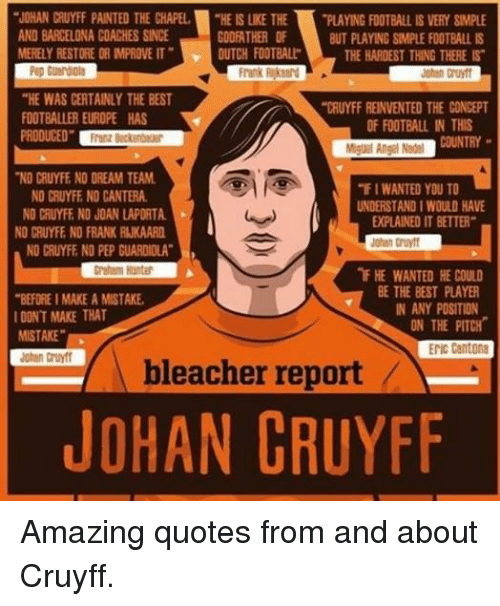 """godfathers: """"JOHAN CRUYFF PAINTED THE CHAPEL  """"HEISLKE THE  PLAYING FOOTBALL IS VERY SMPLE  AND BARCELONA COACHES SINCE  GODFATHER OF  BUT PLAYING SIMPLE FOOTBALL IS  MERELY RESTORE OR MPROVE IT"""" DUTCH FOOTBALL  THE HARDEST THING THERE IS  Frank  """"HE WAS CERTAINLY THE BEST  """"CRUYFF REINVENTED THE CONCEPT  FOOTBALLER EUROPE HAS  OF FOOTBALL IN THIS  PRODUCED""""  Miguel Angel Nadel  NO CRUYFE NO DREAM TEAM.  """"FIWANTED YOU TO  NO CRUYFE NO CANTERA.  UNDERSTANDIWOULD HAVE  NO CRUYFE NO JOAN LAPORTA  EPLAINED IT BETTER""""  NO CRUYFE NO FRANK RUKAARD  Johan Cruyff  NO CRUYFF NO PEP GUARDIOLA""""  nF HE WANTED HE COULD  BE THE BEST PLAYER  """"BEFORE IMAKEAMISTAKE,  IN ANY POSITION  I DONT MAKE THAT  ON THE PITCH  MISTAKE""""  ENIC Cantona  bleacher report  JOHAN CRUYFF Amazing quotes from and about Cruyff."""