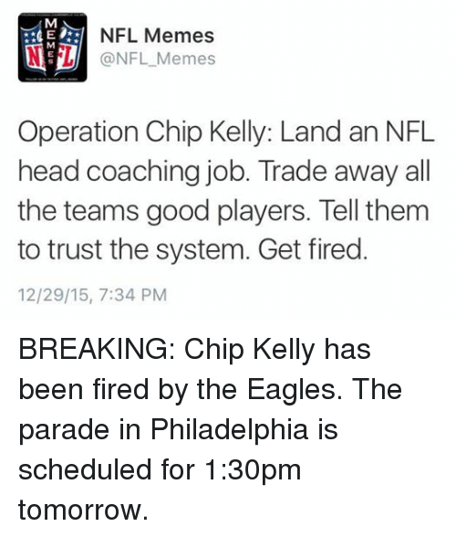 Chip Kelly, Fire, and Head: M NFL Memes M NFL Memes Operation Chip ...