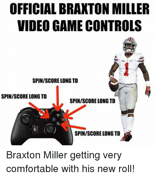 Comfortable, Control, and Ohio State: OFFICIAL BRAXTON MILLER  VIDEOGAME CONTROLS  SPIN/SCORELONG TD  SPIN/SCORE LONG TD  SPIN/SCORE LONG TD  SPIN/SCORE LONG TD Braxton Miller getting very comfortable with his new roll!