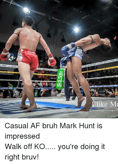 Youre Doing It Right: Tights Altright teserved 2015 Casual AF bruh Mark Hunt is impressedWalk off KO..... you're doing it right bruv!