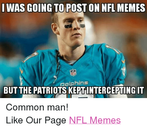 Meme, Memes, and Nfl: WAS GOING TOPOSTON NFL MEMES  Dolphins  BUT THE PATRIOTSKEPTINTERCEPTINGIT Common man! Like Our Page NFL Memes