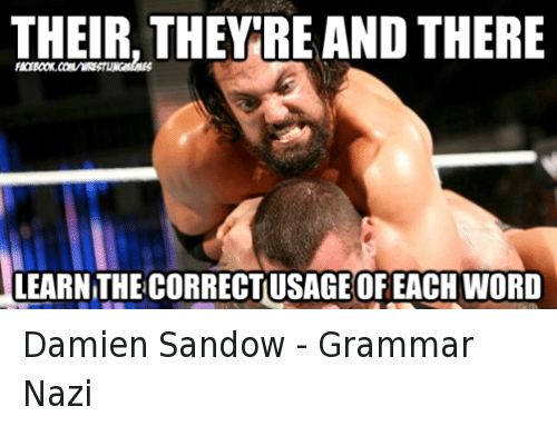 Grammar Nazis: THEIR, THEY RE AND THERE  LEARNITHECORRECTIUSAGE OF EACH WORD Damien Sandow - Grammar Nazi
