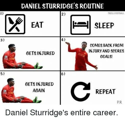 Goals, Soccer, and Troll: 3)  5)  DANIELSTURRIDGETSROUTINE  TROLL FOOTBALL  2)  SLEEP  EAT  4)  COMES BACK FROM  INJURY AND SCORES  GETS INJURED  GOALS!  6)  GETS INJURED  AGAIN  REPEAT  PR. Daniel Sturridge's entire career.