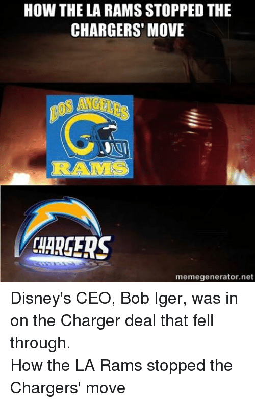 Facebook Disneys CEO Bob Iger was in dac0fb how the la rams stopped the chargers move memegeneratornet