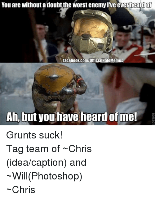 Halo: You are without a doubt the worst enemyl ve ever heardof  facebook.com/OfficialHaloMemes  Ah, but you have heard of me! Grunts suck! Tag team of ~Chris (idea/caption) and ~Will(Photoshop)  ~Chris