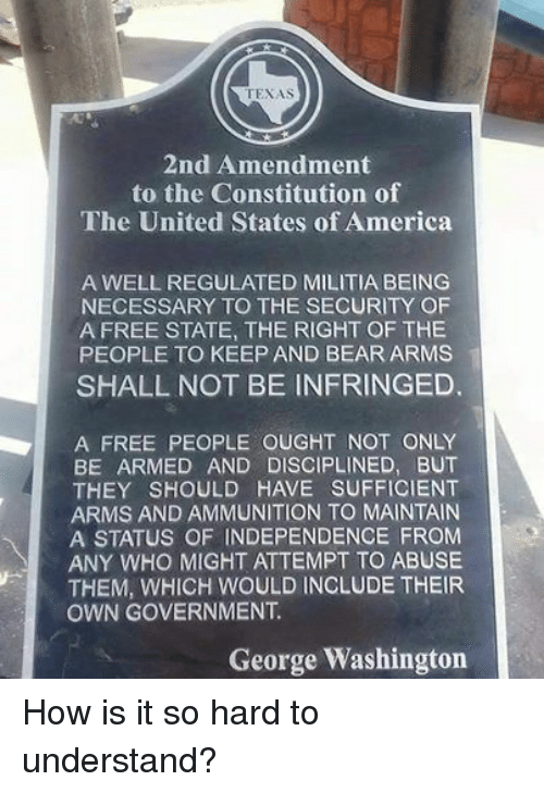 an analysis of second amendment from united states constitution The second amendment of the united states constitution reads: a well regulated militia, being necessary to the security of a free state, the right of the people to keep and bear arms, shall.
