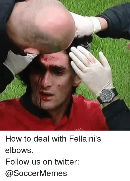 Soccer, Twitter, and How To: How to deal with Fellaini's elbows. Follow us on twitter: @SoccerMemes