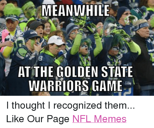 Golden State Warriors, Meme, and Memes: MEANWHILE  AT THE GOLDEN STATE  WARRIORS GAME I thought I recognized them... Like Our Page NFL Memes