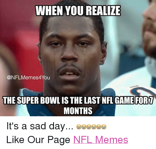 Meme, Memes, and Nfl: WHEN YOU REALIZE  @NFL Memes 4You  THE SUPER BOWL IS THE LAST NFL GAME FORT  MONTHS It's a sad day...  Like Our Page NFL Memes