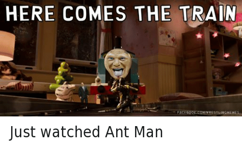 ant man: HERE COMES THE  TRAIN  FACEBOOK.COMIWRESTLINGMEMES Just watched Ant Man
