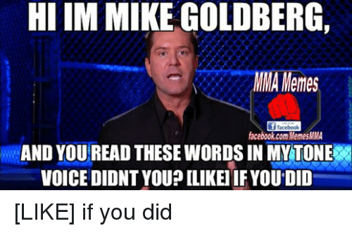 Mma Meme: HI IM MIKE GOLDBERG,  MMA Memes  facebook  facebook.com MemesMMA  AND YOUREAD THESE WORDS INMY TONE  VOICEDIDNT YOU? LLIKEI IFYOU DID [LIKE] if you did