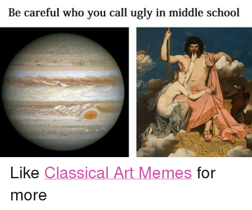 Meme, Memes, and School: Be careful who you call ugly in middle school Like Classical Art Memes for more