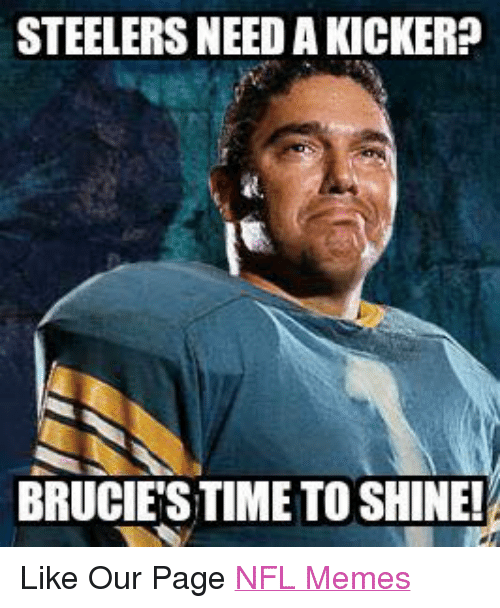 Meme, Memes, and Nfl: STEELERSNEED A KICKER  BRUCIESTIME TO SHINE! Like Our Page NFL Memes