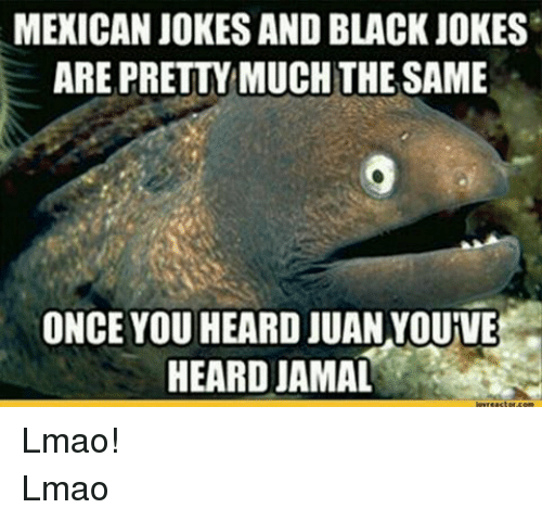 Mexicans Jokes: MEXICAN JOKES AND BLACK JOKES  ARE PRETTYMUCHTHE SAME  ONCE YOU HEARD JUAN YOUIVE  HEARD JAMAL Lmao!Lmao