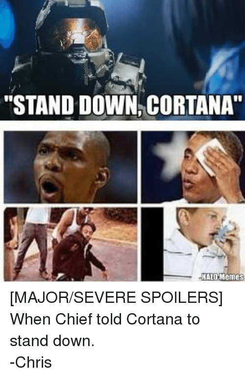 "Halo Meme: ""STAND DOWN CORTANA  HALO Memes [MAJOR/SEVERE SPOILERS] When Chief told Cortana to stand down. -Chris"