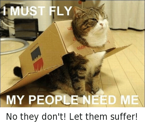 My People Need Me: 1 MUST FLY  MY PEOPLE NEED ME No they don't! Let them suffer!