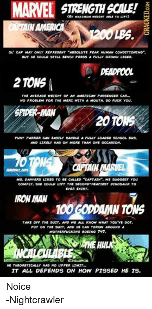 """ligers: MARVEL  STRENGTH SCALE!  AMERICA  OL CAP MAY ONLY REPRESENT """"ABSOLUTE PEAK HUMAN CONDITTONING"""".  BUT HE COULD STILL BENCH PRESS AFULLY GROwN LIGER.  2 TONS  THE AVERAGE NEIGHT OF AN AMERICAN PASSENGER CAR...  NO PROBLEM FOR THE MERC NTTHAMouTH. So Fuck You.  2010NS  PUNY PARKER CAN EASILY HANDLE A FULLY LOADED SCHOOL Bus.  AND LIKELY HAS ON MORE THAN ONE OCCASTON.  COMPLy, SHE COULD LITT THE SECOND HEAYIEST DINOSAUR TO  EVER EXIST.  IRONMAN  TONG  TAKE OFF THE SurT. AND NE ALL KNOW WHAT You YE GOT.  PUT ON THE SUIT AND ME CAN THROW AROUN  MOTHERFUCKING BORING 7  HE THEORETICALLY HAS NO UPPER LIMIT.  IT ALL DEPENDS ON HOW PISSED HE IS. Noice -Nightcrawler"""