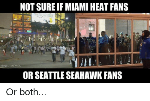 Meme, Memes, and Miami Heat: NOT SURE IF MIAMI HEAT FANS  @NFL MEMES  OR SEATTLE SEAHAWK FANS Or both...