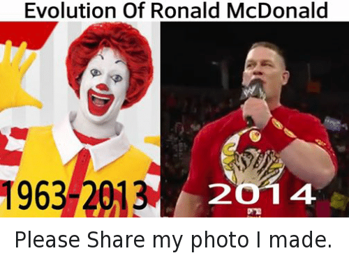 Facebook Please Share my photo I made f503d9 evolution of ronald mcdonald 1963 2013 2o 14 please share my photo