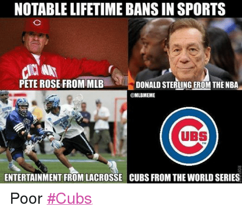 Mlb, Nba, and Sports: NOTABLE LIFETIME BANS IN SPORTS  PETE ROSE FROM MLB  DONALD STERLING FROM THE NBA  @MLBIMEME  UBS  ENTERTAINMENT FROMLACROSSE CUBS FROM THEWORLD SERIES Poor ‪#‎Cubs‬