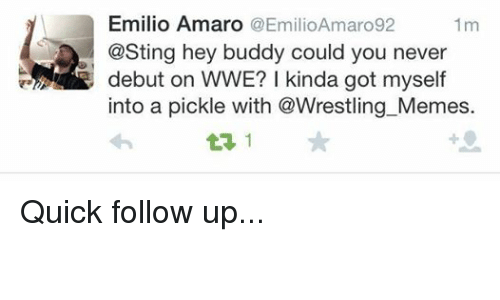 meme: Emilio Amaro  (a EmilioAmaro92  1 m  @Sting hey buddy could you never  debut on WWE? kinda got myself  into a pickle with @Wrestling Memes. Quick follow up...