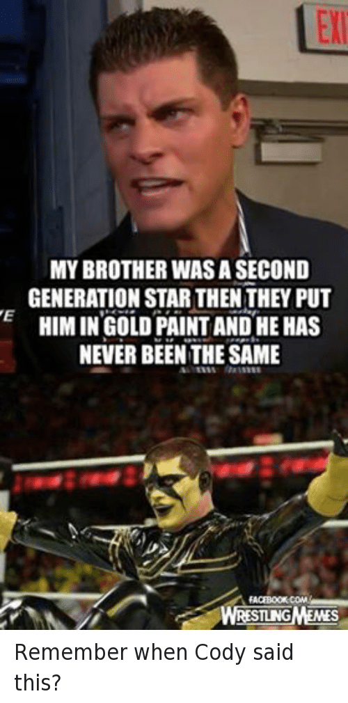 Never Been The Same: MY BROTHER WASA SECOND  GENERATION STAR THEN THEY PUT  HIM IN GOLD PAINT AND HE HAS  NEVER BEEN THE SAME  FACEBOOK COMA  WRESTLNGMEMES Remember when Cody said this?