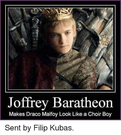 Game of Thrones, Boy, and Boys: Joffrey Baratheon  Makes Draco Malfoy Look Like a Choir Boy Sent by Filip Kubas.