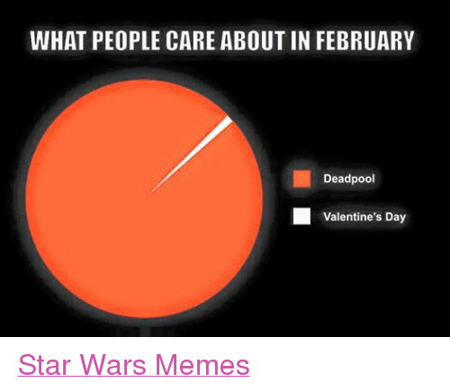 Meme, Memes, and Star Wars: WHAT PEOPLE CARE ABOUT IN FEBRUARY  Deadpool  Valentine's Day Star Wars Memes