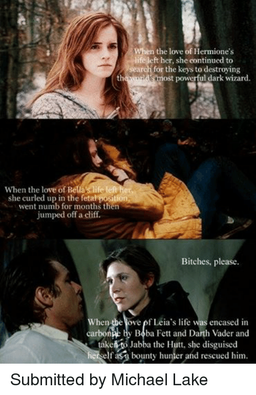 Star Wars: When the love of Hermione's  life left her, she continued to  search for the keys to destroying  the world's most powerful When the love of Bella s life left her,  she curled up in the fetal positi  went numb for months then  jumped off a cliff.  Bitches, please  When the ove of Leia's life was encased in  carbone by Boba Fett and Darth Vader and  take to Jabba the Hutt, she disguised  herself as bounty hunter and rescued him. Submitted by Michael Lake