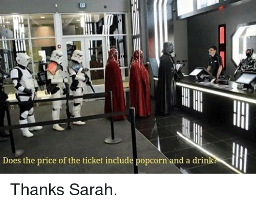 Popcorn: Does the price of the ticket include popcorn and a drink Thanks Sarah.