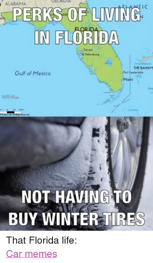 Cars, Life, and Meme: GEOK GIA  ALABAMA  PERKS OF LIVING  IN FLORIDA  otormpa  Petersburg  CHE BAHAM  Gulf of Mexico  o Fort Couderdole  NOT HAVING TO  BUY WINTER TIRES That Florida life: Car memes