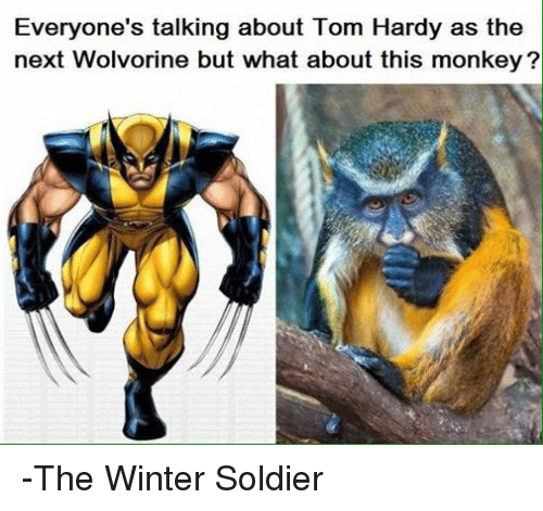 Soldiers, Tom Hardy, and Winter: Everyone's talking about Tom Hardy as the  next Wolvorine but what about this monkey? -The Winter Soldier