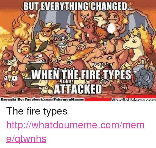 Fire, Meme, and Memes: BUT EVERYTHING CHANGED  WHEN THE FIRETYPES  ATTACKED  Brought By ebook  Poke  What IpIIM The fire types http://whatdoumeme.com/meme/qtwnhs