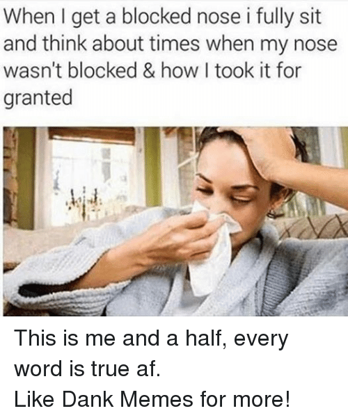 Af, Dank, and Meme: When I get a blocked nose i fully sit  and think about times when my nose  wasn't blocked & how took it for  granted This is me and a half, every word is true af. Like Dank Memes for more!
