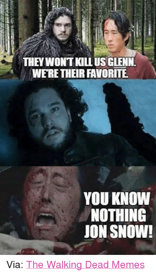 the walking dead memes: THEY WON'T KILL US GLENN  WERE THEIR FAVORITE.  YOU KNOW  NOTHING  JON SNOW! Via: The Walking Dead Memes